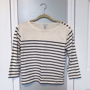 🌿 3/$15 Sale! Forever 21 Navy & Cream Striped Top